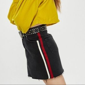 Topshop Side Stripe Denim Skirt